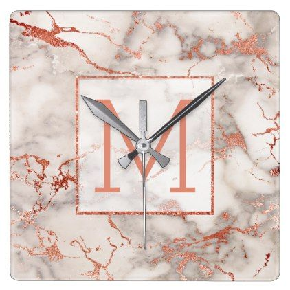 #rose gold monogram on light marble square wall clock - #white #marble #gifts