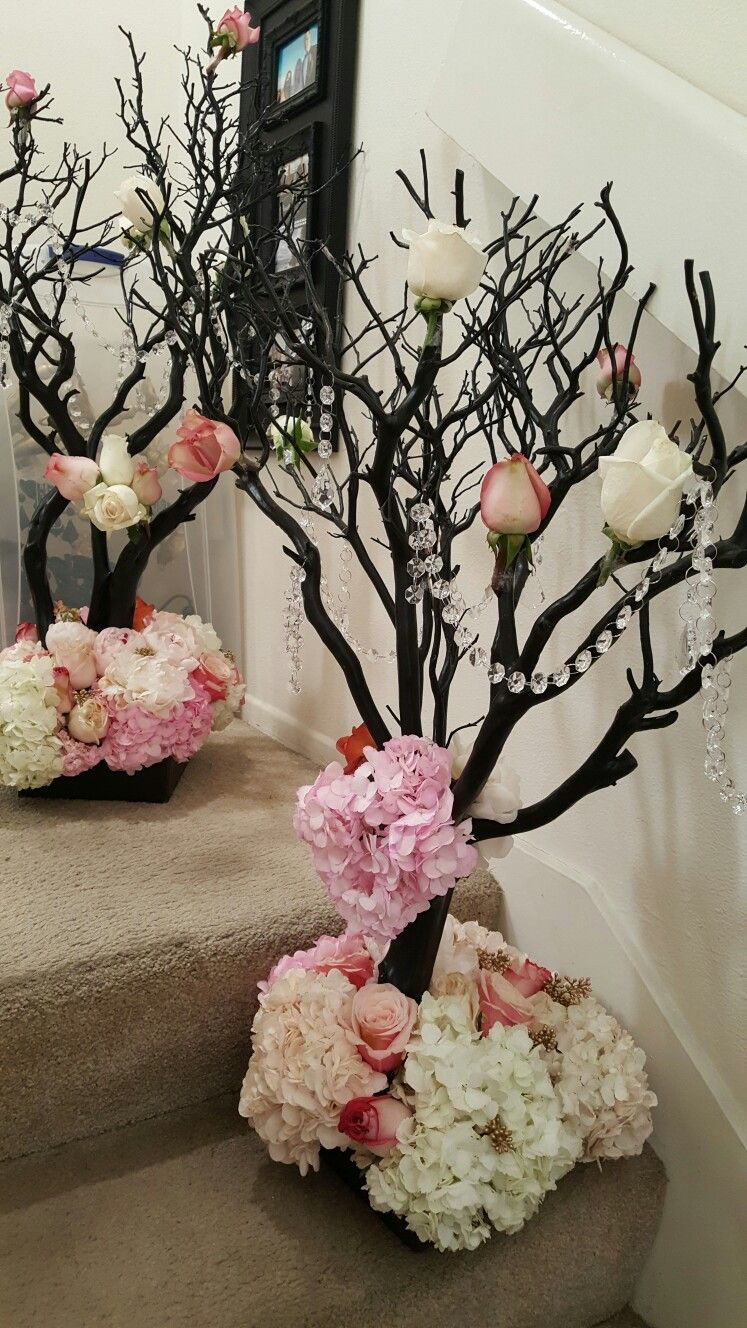 Birch Branch Manzanita Tree Centerpieces With Fresh Roses And