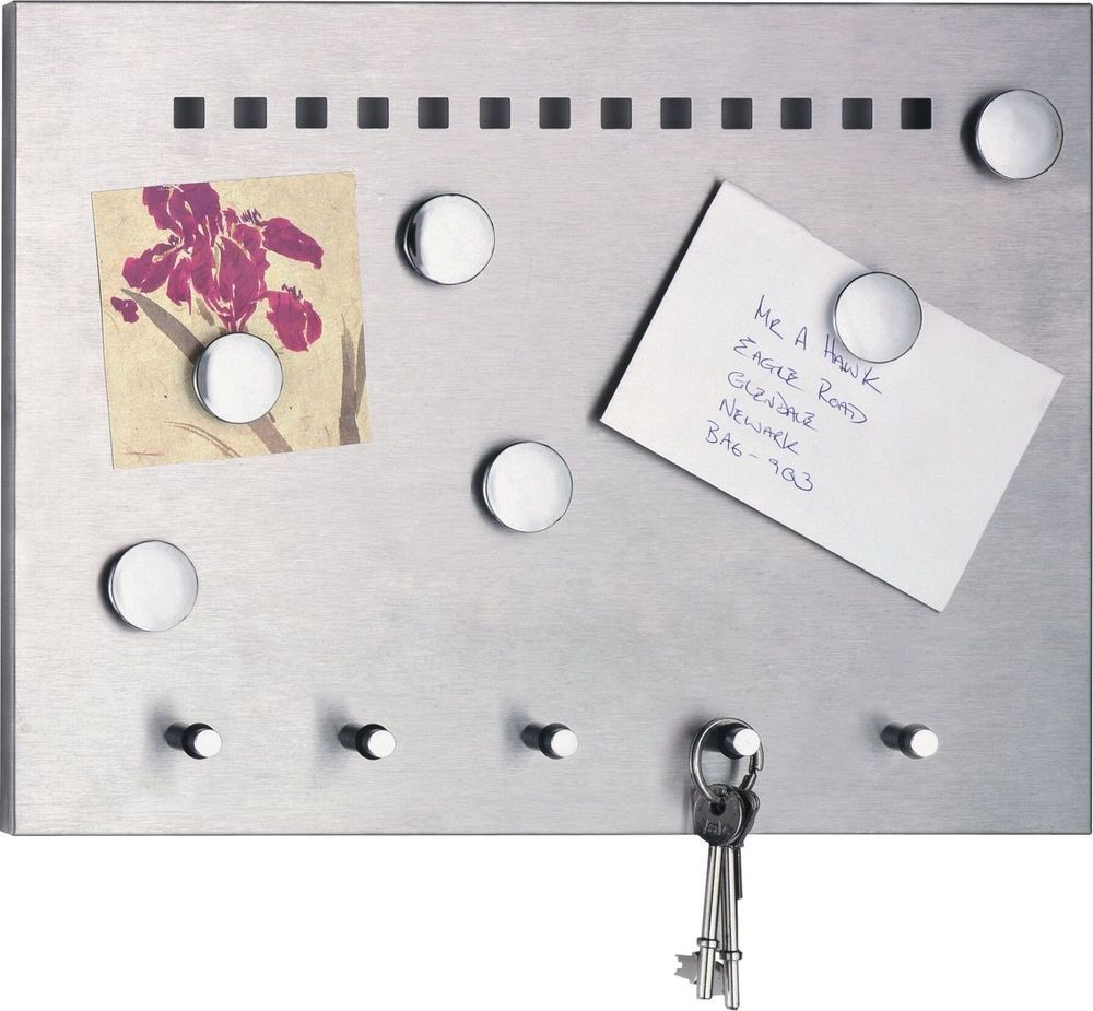 Stainless Steel Kitchen Magnetic Memo Board With Key Hooks