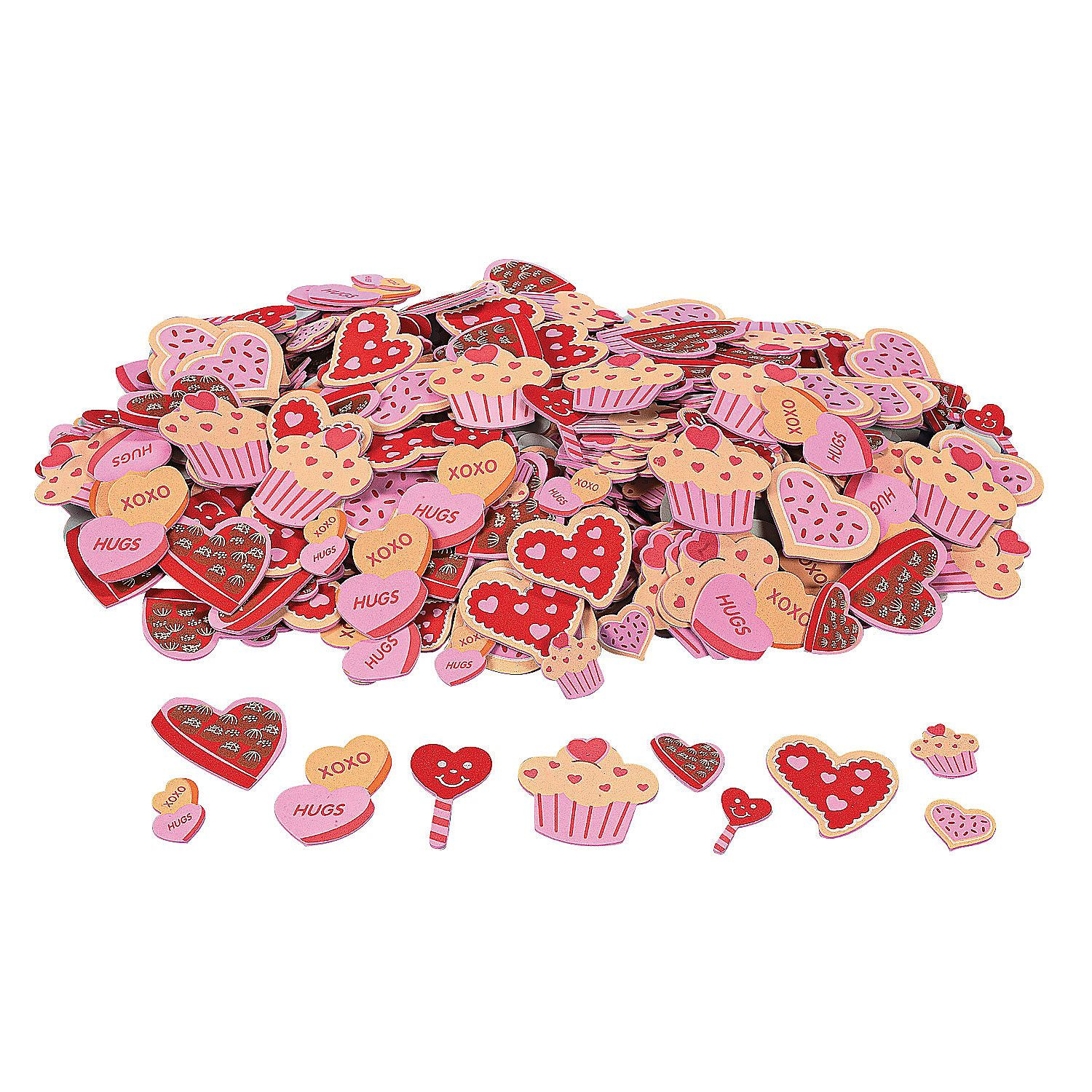 Valentines Day Regular Love Bug Adhesive Foam Shapes for Valentines Day 500 Pieces Fun Express Craft Supplies Foam Shapes