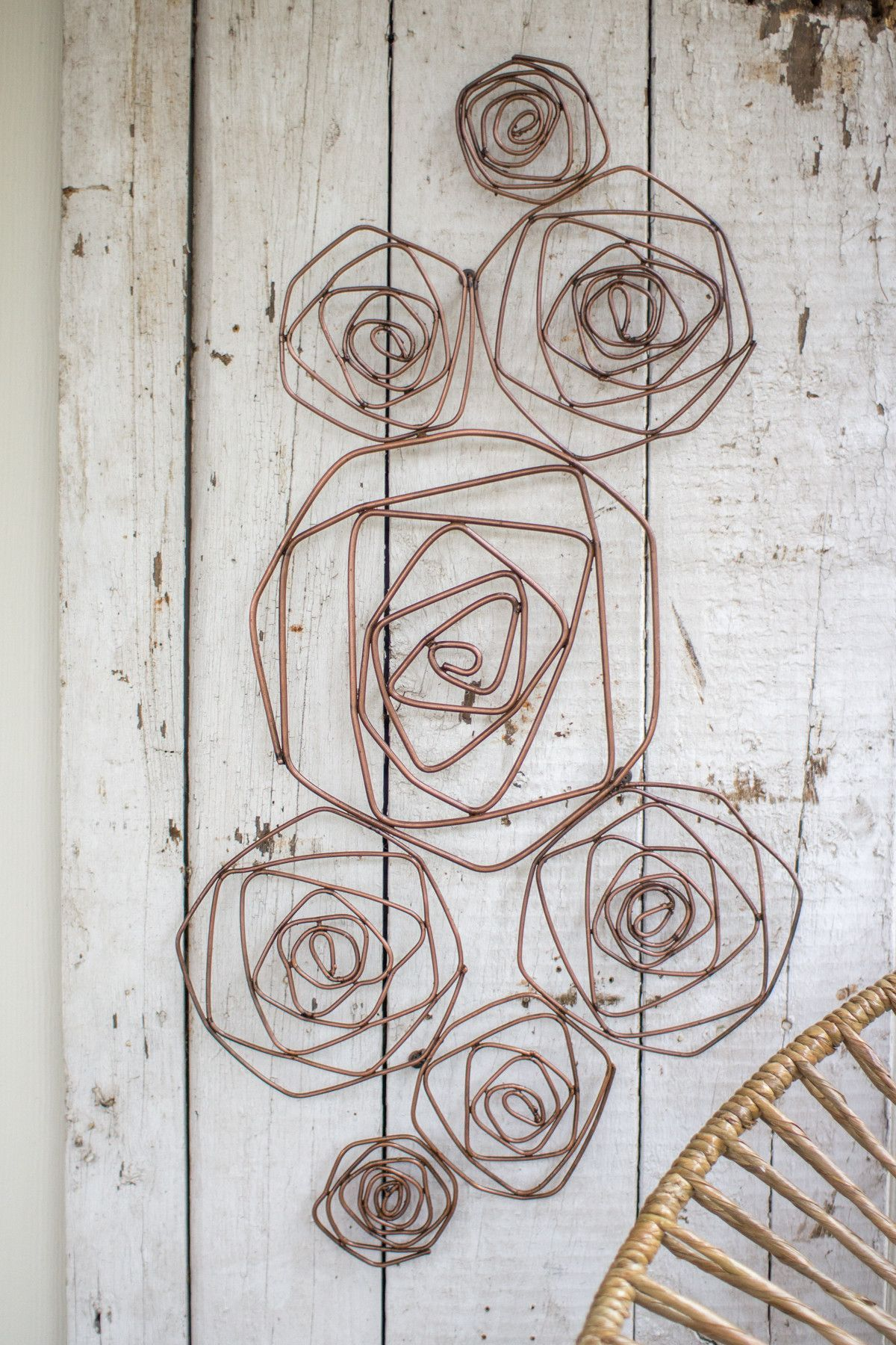 Wire Roses Wall Sculpture Copper Finish
