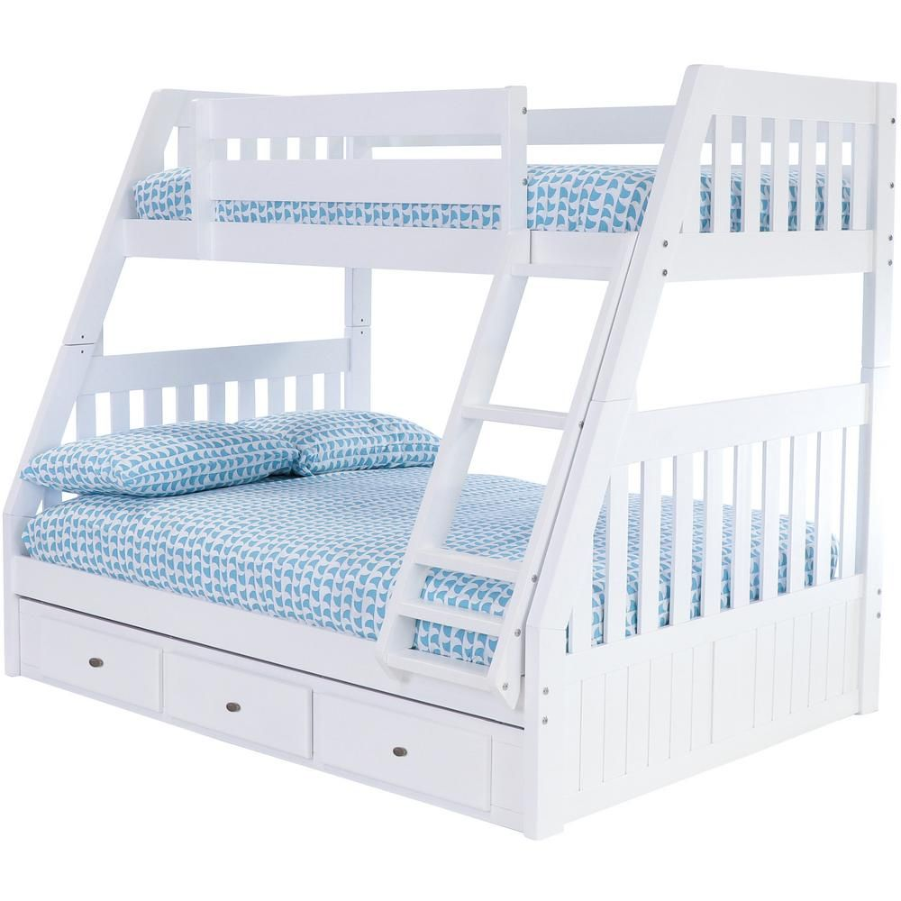 American Furniture Classics Casual White Collection White Twin Overfull Bunk Bed With 3 Underbed Drawers 0218r Tfw The Home Depot In 2021 Bunk Bed With Trundle White Bunk Beds Twin Over Full Bunk White twin over full bunk bed