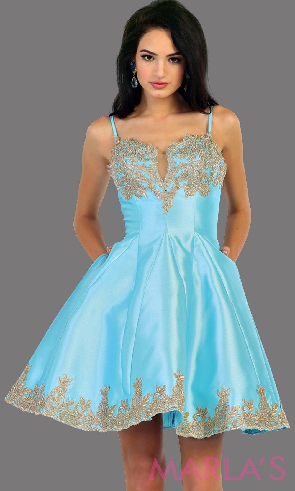 85ad230daf59 1445Short satin aqua grade 8 graduation dress with gold lace detail and  straps. This dress features pockets. Perfect light blue short prom dress,  ...
