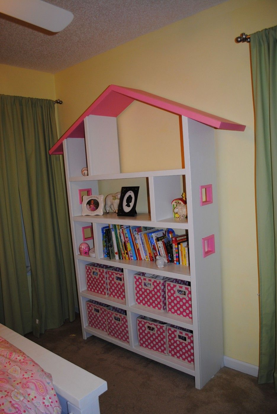 Charming Bookshelf Plans In White And PInk Color On