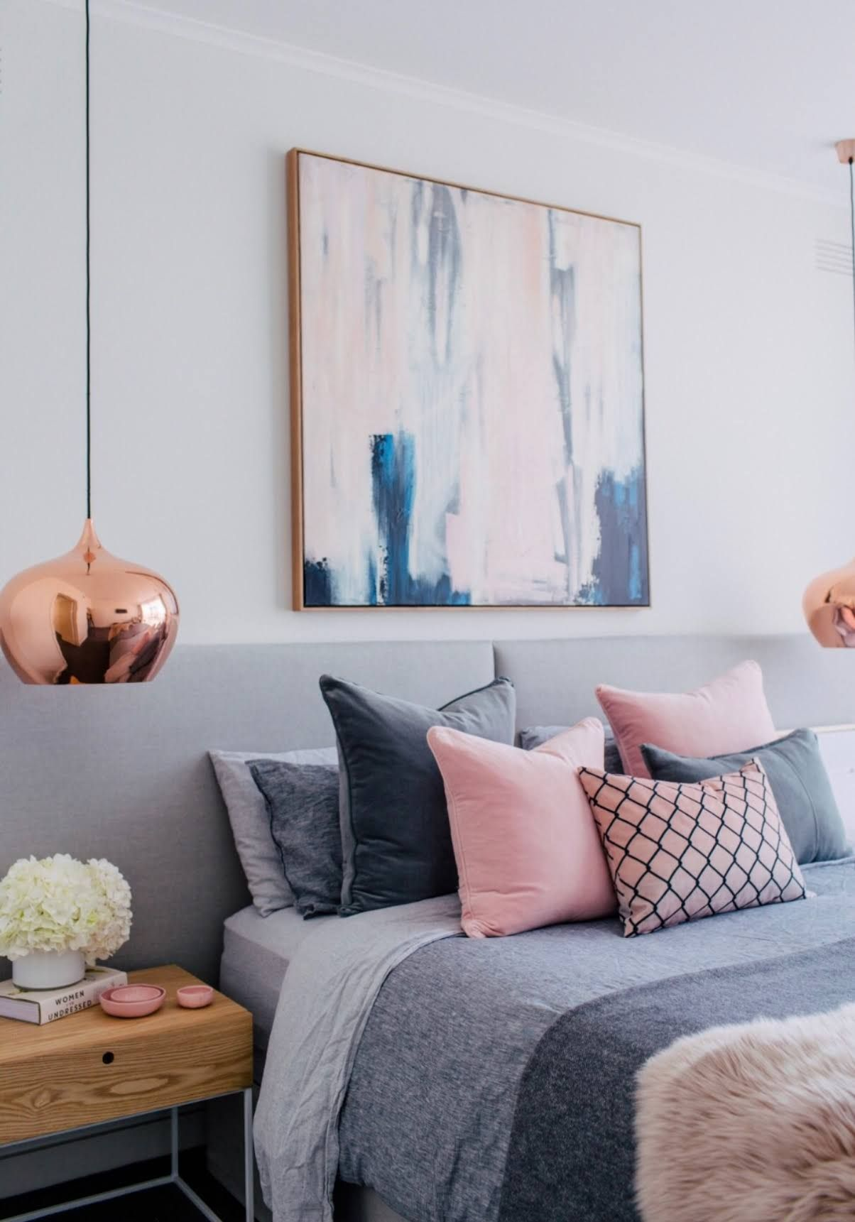 Blush, White And Grey Bedroom Inspiration