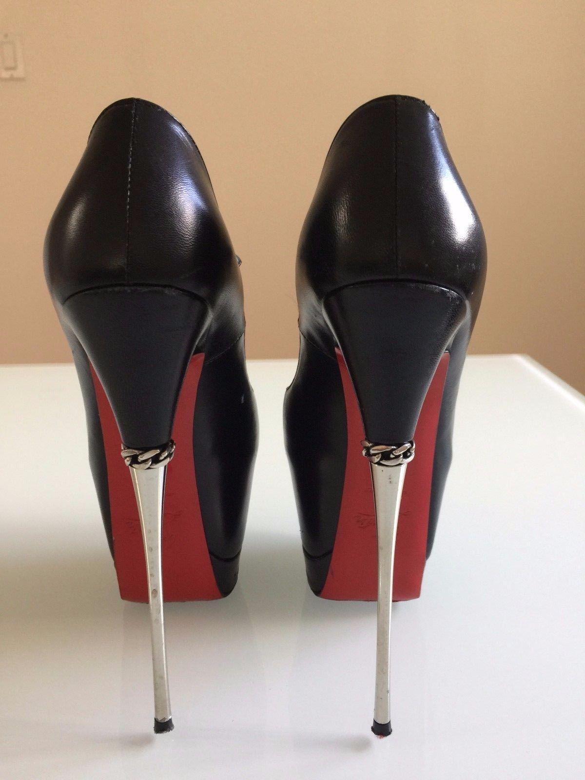 808aeebd8c82 Christian Louboutin Printz 160 Kid Leather Womens Heels Stiletto Peep Toe  36 6