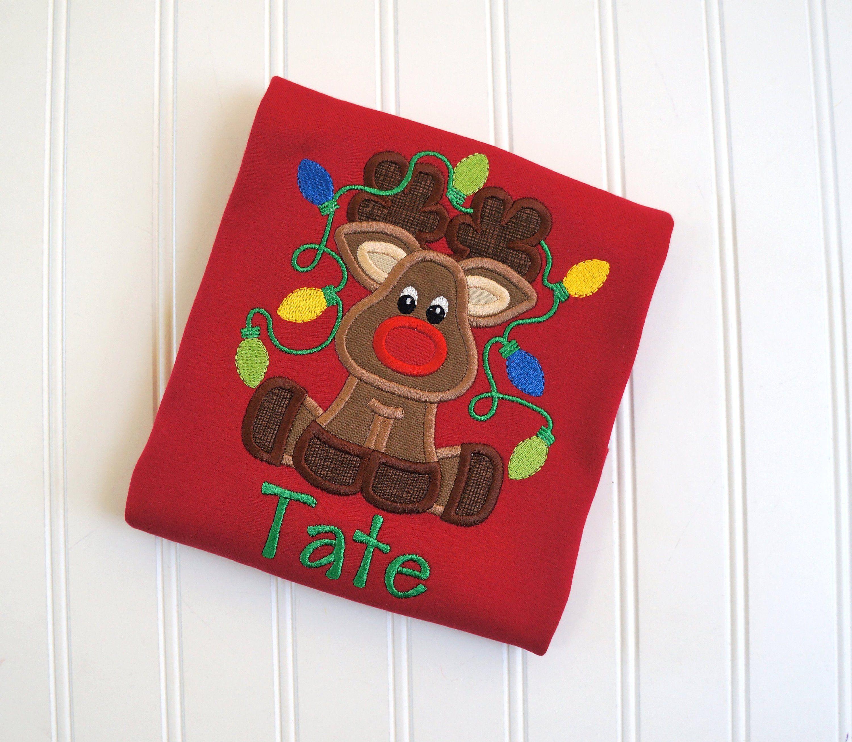 Reindeer Holiday Shirt, Reindeer Tangled, Reindeer Lights