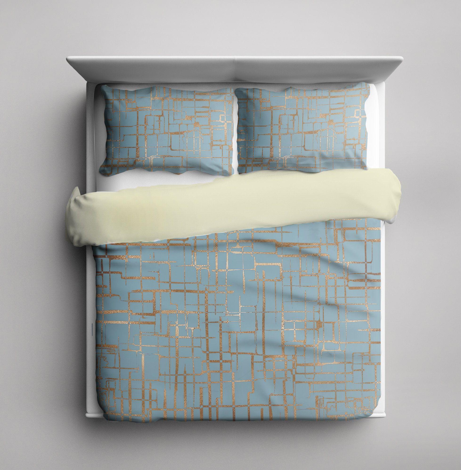 Blue Gold Geometric Duvet Cover Modern Bedding Comforter Set