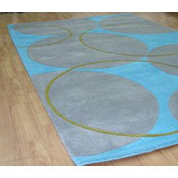 @Overstock - This fine hand-tufted and hand-carved rug is made using a rich wool blend. Custom-dyed yarns in shades of grey, aqua and green.http://www.overstock.com/Home-Garden/Hand-tufted-Rings-and-Circles-Wool-Rug-8-x-10/4813343/product.html?CID=214117 $339.99