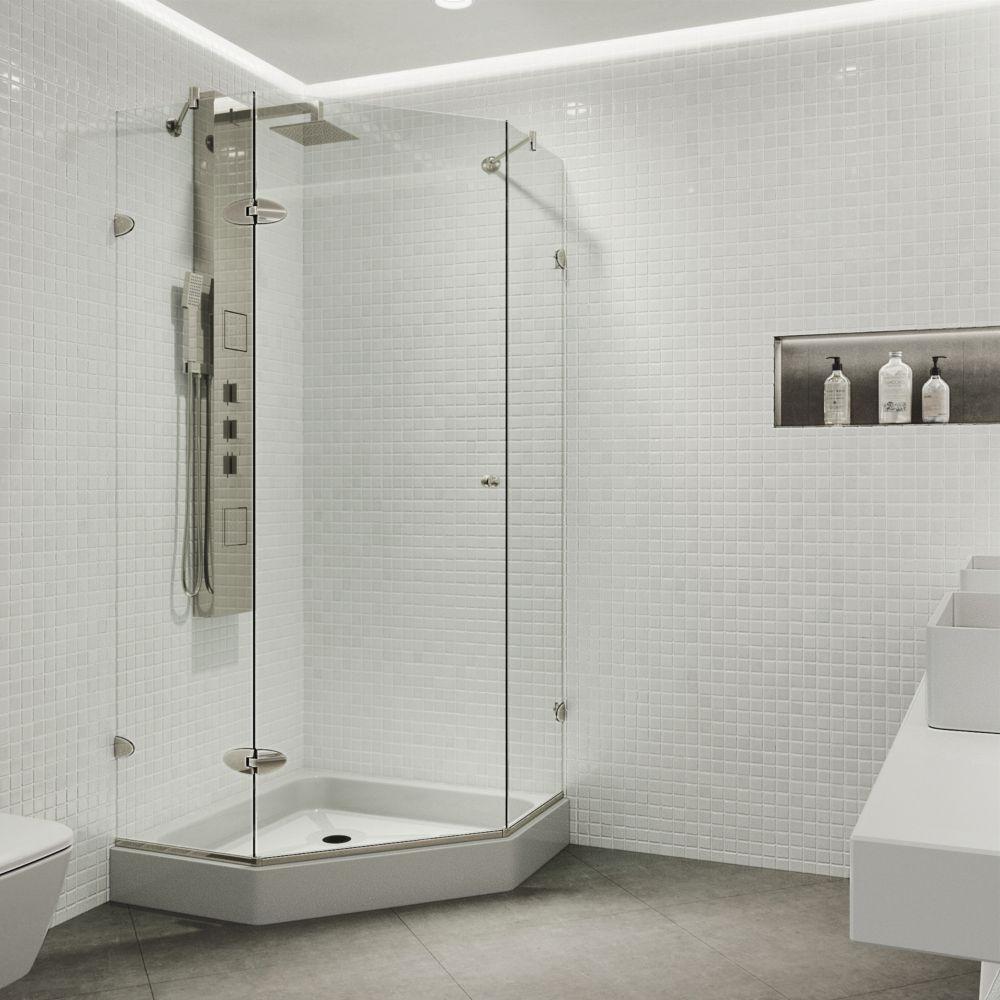Vigo Vigo 36 Inch X 48 Inch Frameless Shower Stall In Clear With