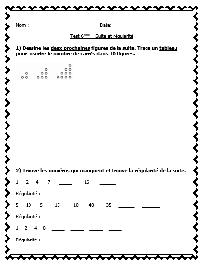 FRENCH Math Test - Patterning / Les suites et les variables