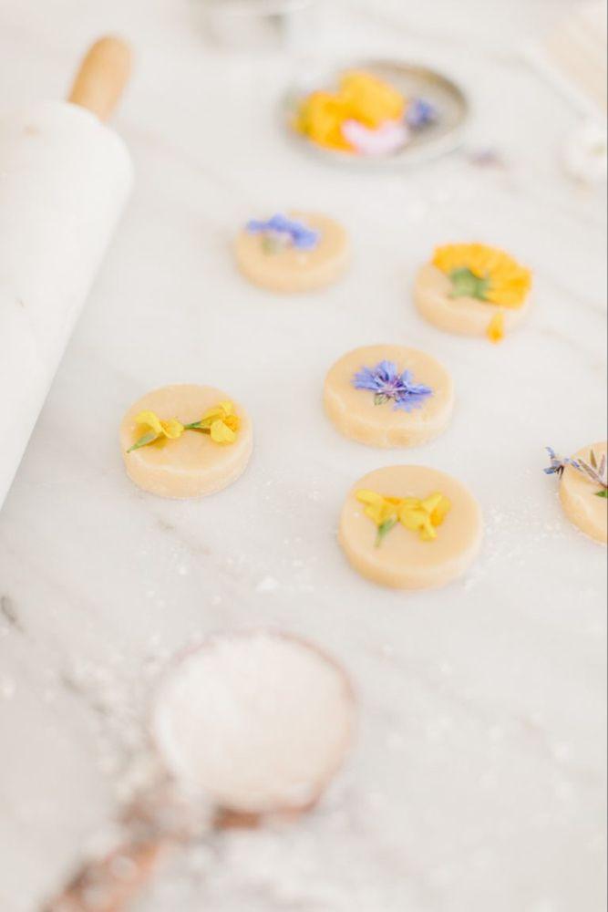 Pressed Flower Short Bread Cookies - Monika Hibbs
