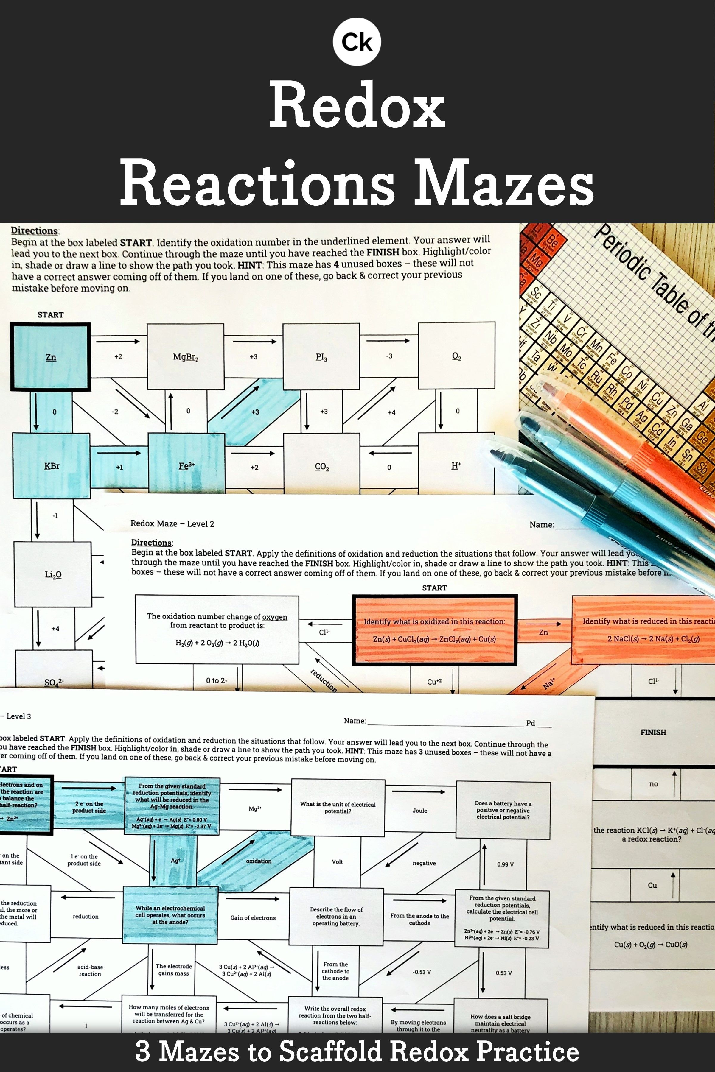 Redox Reactions Chemistry Interactive Mazes Worksheet