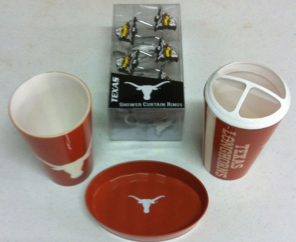 Texas Longhorns Bath 15 Piece Set Soap Dish Cup Toothbrush Holder