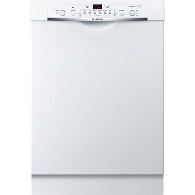 Bosch Ascenta She3arf2uc 24 In Front Control Tall Tub Built In Dishwasher With Stainless Steel Tub In White Built In Dishwasher Steel Tub Dishwasher White