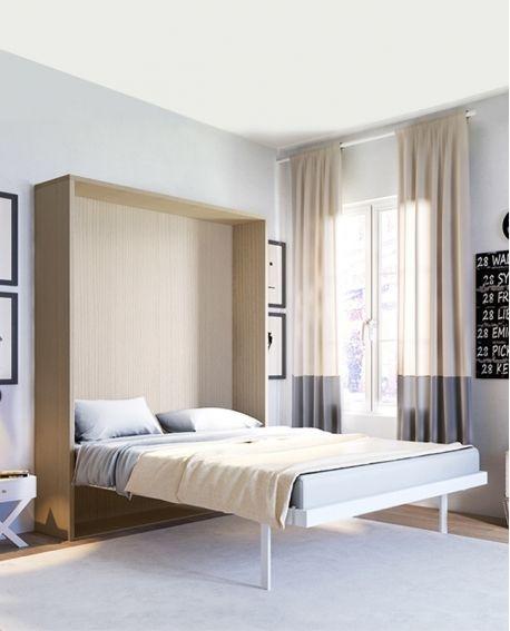 Lit Escamotable Verticale Sommier A Lattes Et Plafonniers 2 Places Smart Lit Escamotable Armoire Lit Escamotable Idee Chambre
