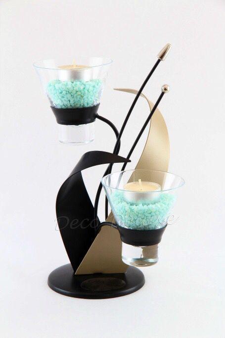 Design-Teelichthalter schwarz-beige matt