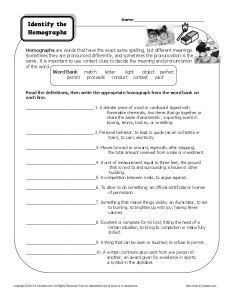 Homograph Worksheet - Identify the Homographs | Projects to ...