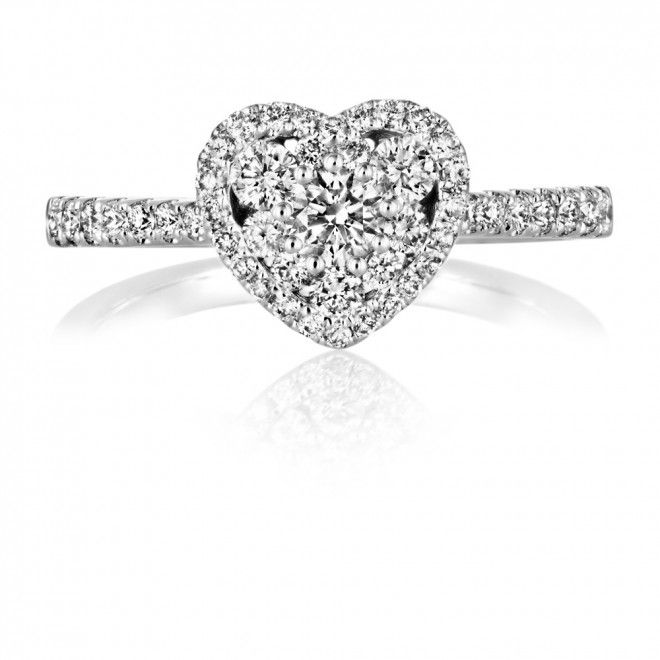 Diamond 0 62ct Gold Heart Cluster Ring e day 3