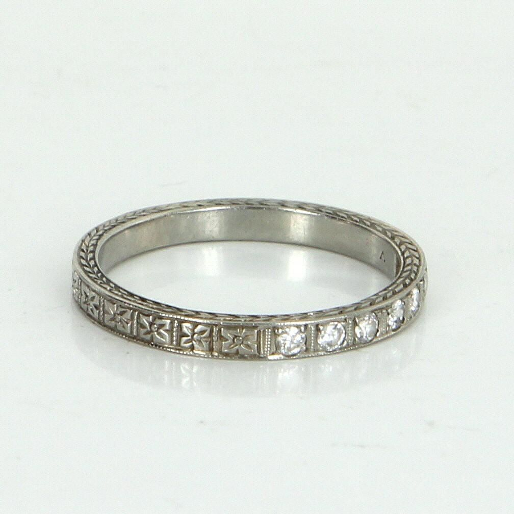 Vintage Art Deco Diamond Wedding Band Ring Sz 675 Embossed Flowers 18 Karat White Gold Jewelry: Gold And Silver Embossed Wedding Bands At Reisefeber.org