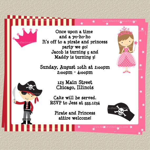 Pirate and princess party invitations set of 10 printed birthday pirate and princess party invitations set of 10 printed birthday invites with envelopes free filmwisefo Image collections