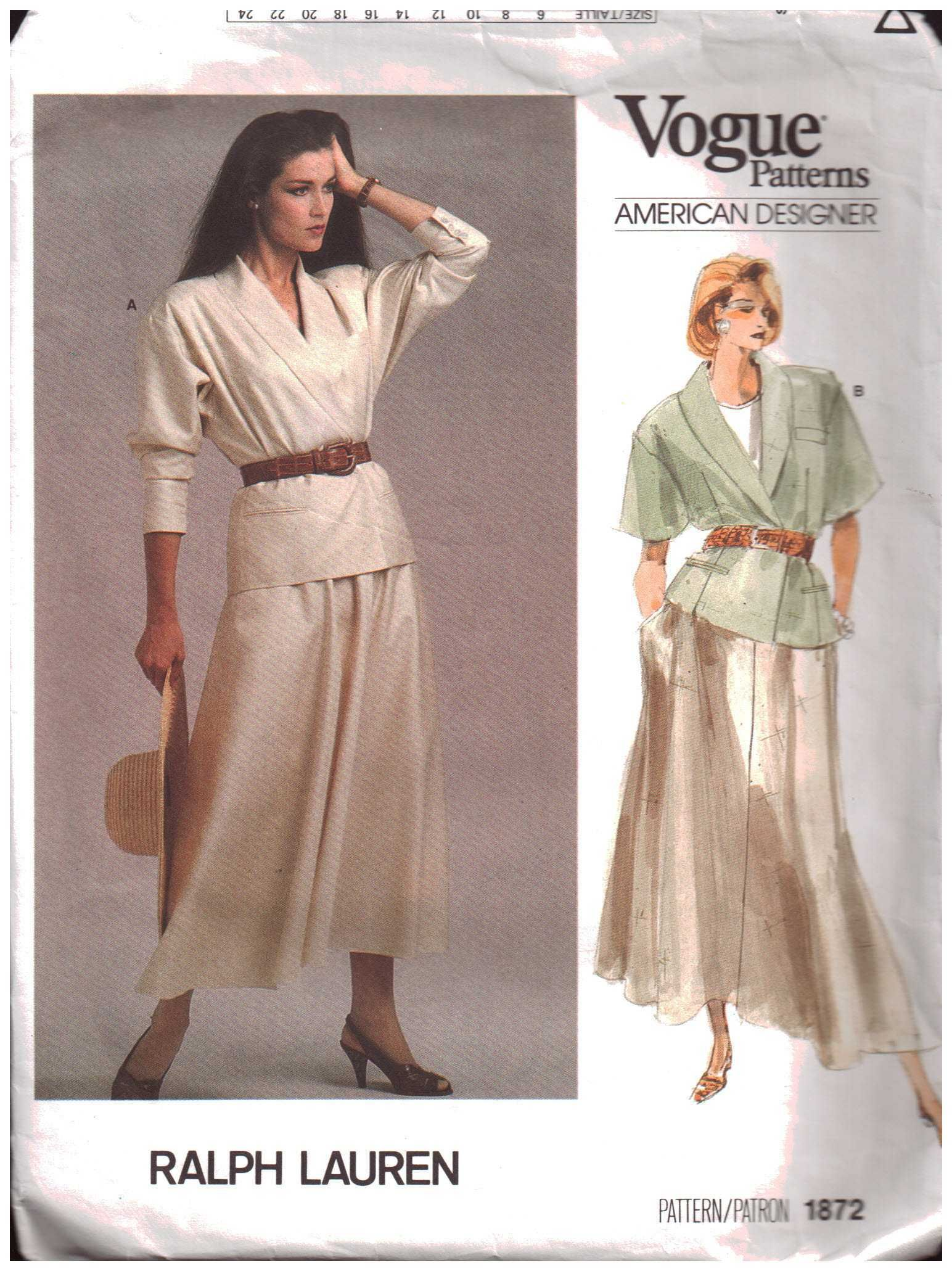 Vogue 1872 Jacket, Skirt by Ralph Lauren Size: 8 Used Sewing Pattern ...