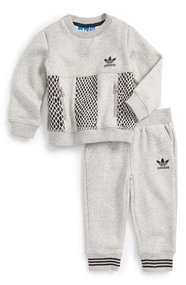 5d792fe7c3262 adidas  Mini Me Tracksuit  Brushed Sweatshirt   Sweatpants (Baby Boys)  available at  Nordstrom