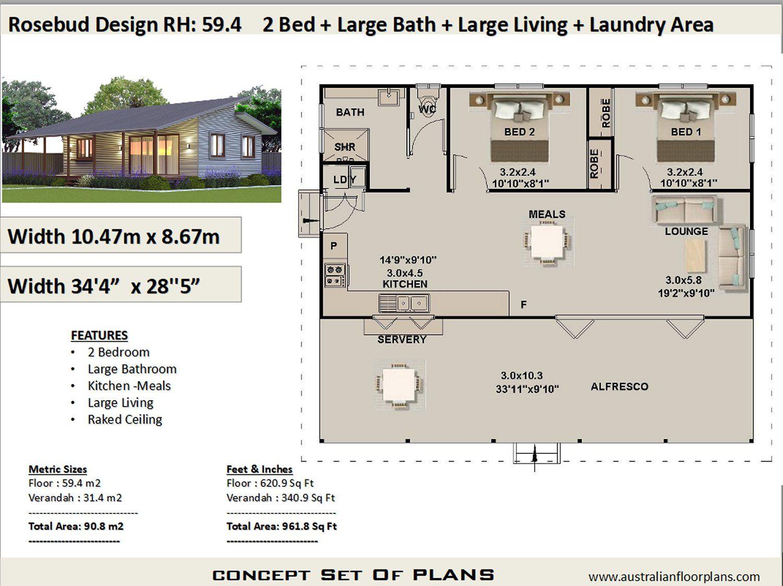 Australian 2 Bedroom house plan Rosebud Preliminary