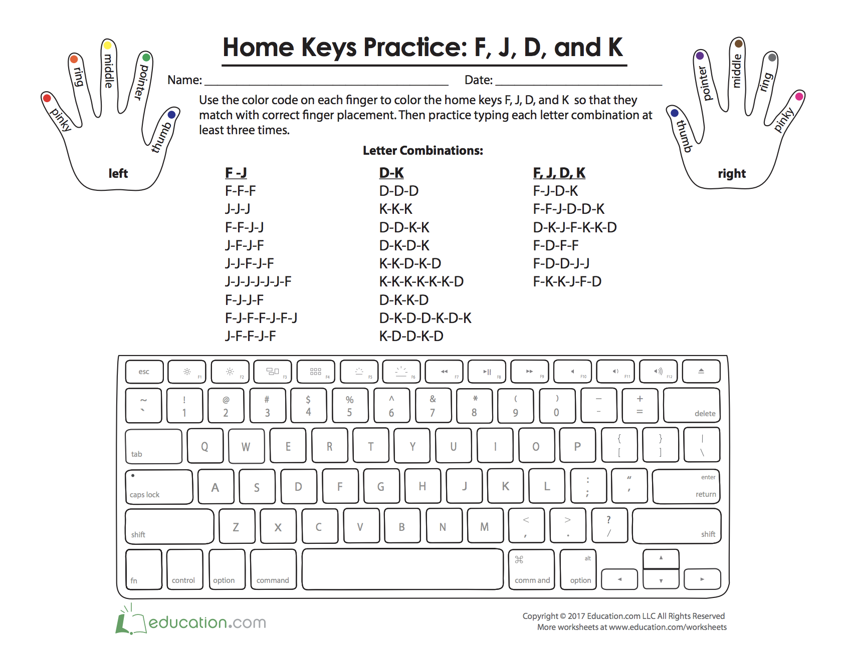 Home Keys Practice F J D And K