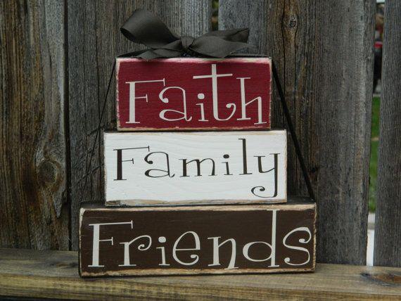 Faith Family Friends Wood Stacker Blocks Home Decor Inspirational