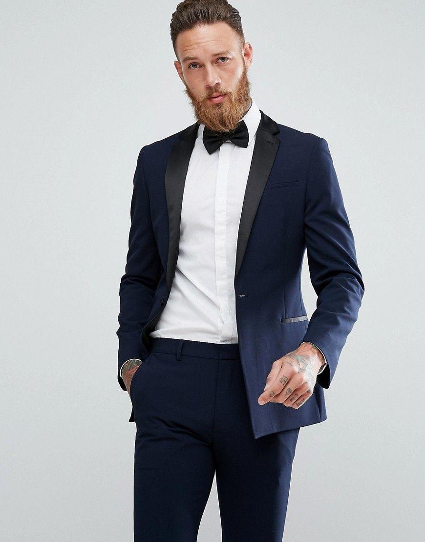 744ef15cf90a DESIGN super skinny tuxedo suit jacket in navy   Idk   Tuxedo suit ...