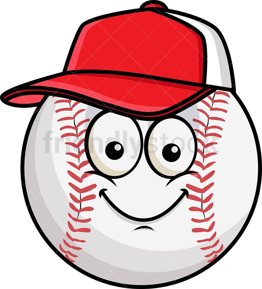 Baseball Wearing Hat Emoji Cartoon Vector Clipart Friendlystock Emoji Hat Emoji Emoji Clipart