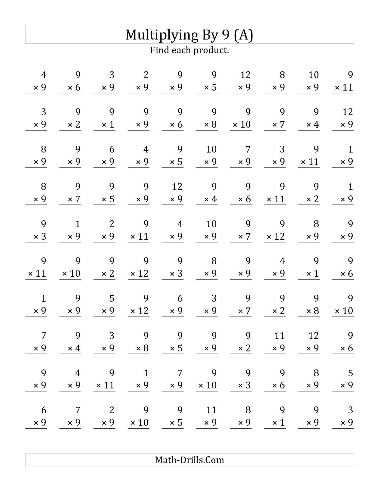 The Multiplying 1 to 12 by 9 (A) math worksheet from the ...