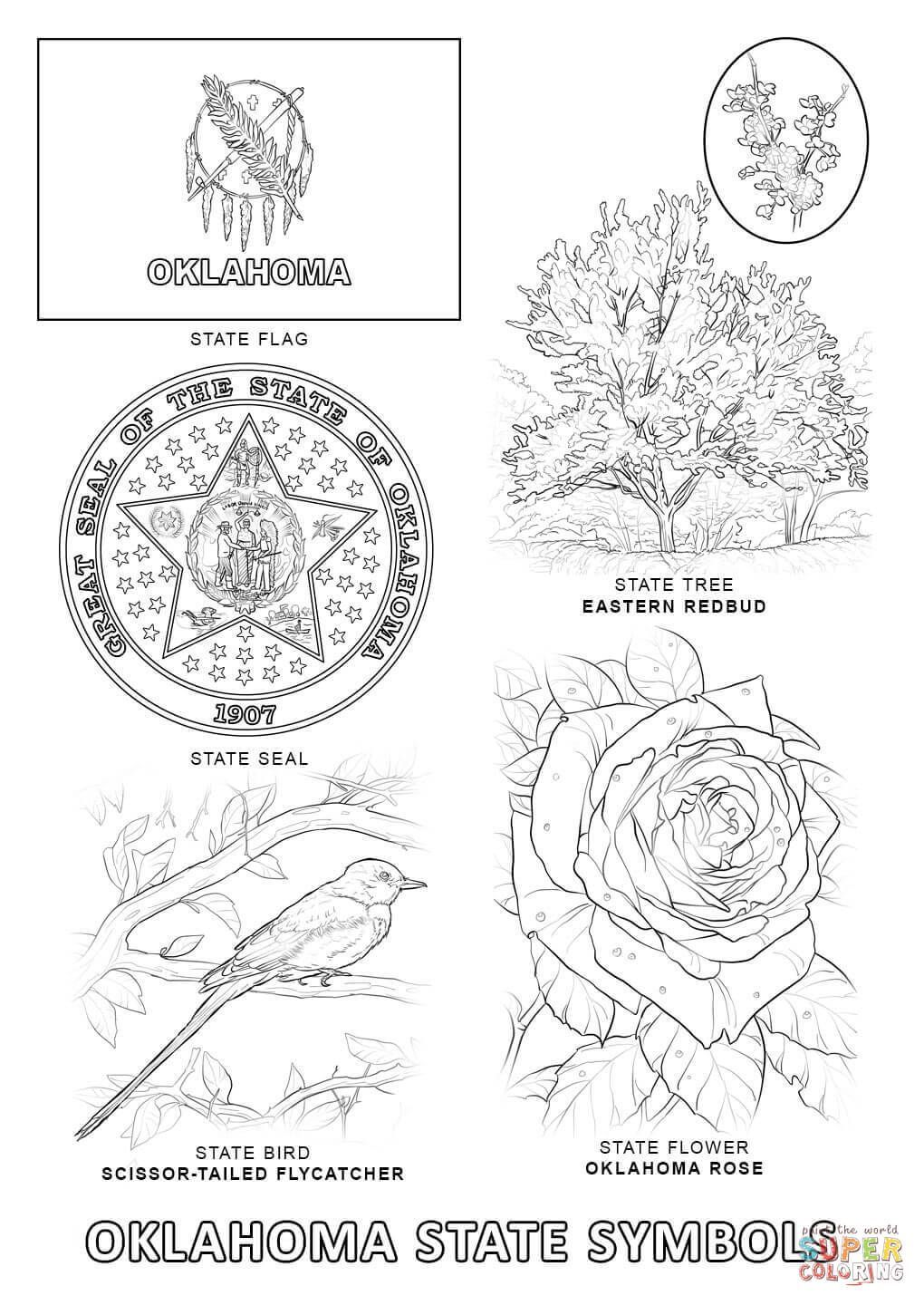 Oklahoma State Symbols Coloring Page Crossing North Bird Coloring Pages Coloring Pages Flag Coloring Pages