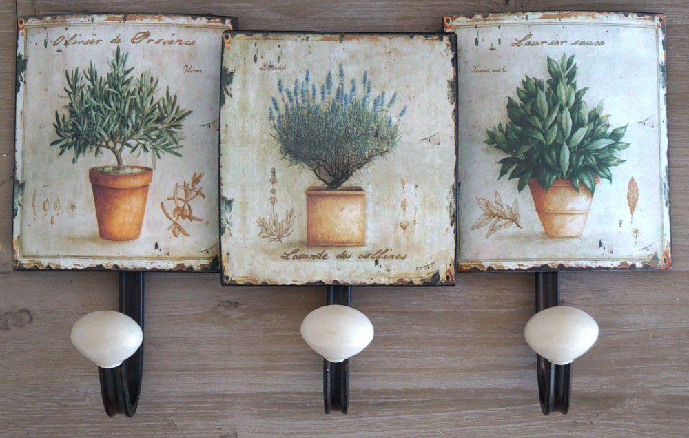 Landhaus bunte Blumen Wandgarderobe Wandhakenleiste Nostalgie Garderobe Metall