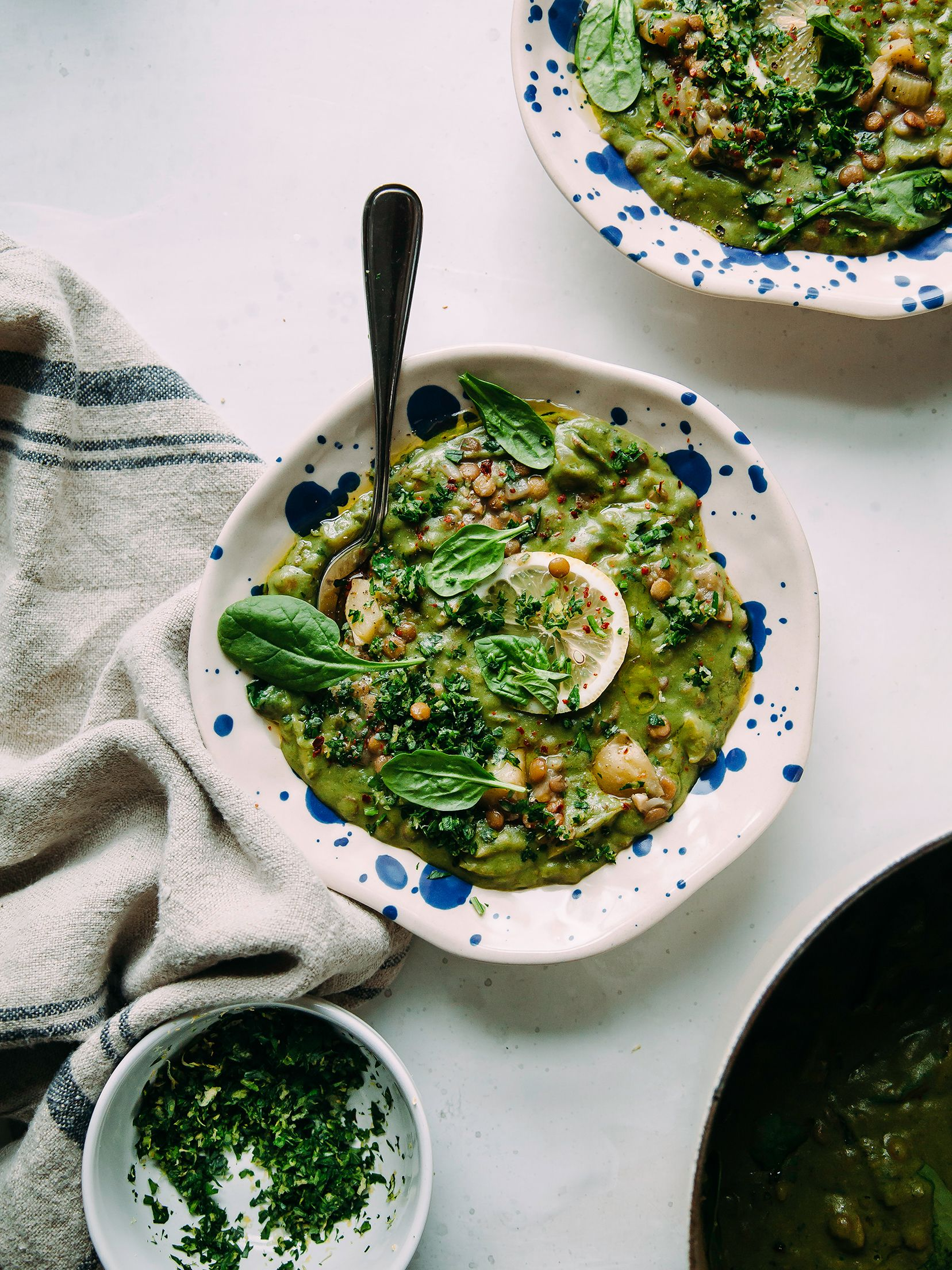 Deep Green Lentil Stew With Spinach Tahini Lemon Recipe Lentil Stew Lentil Recipes Lentils