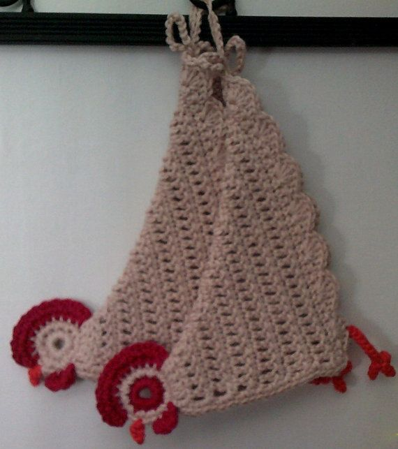 Crochet Pattern Chicken Potholder Lid Cover di AppleAtChunCrafts ...