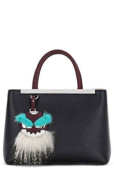 eaf218aaff0 Fendi  Petite 2Jours  Leather Shopper with Genuine Mink Fur   Genuine Fox  Fur Monster Charm