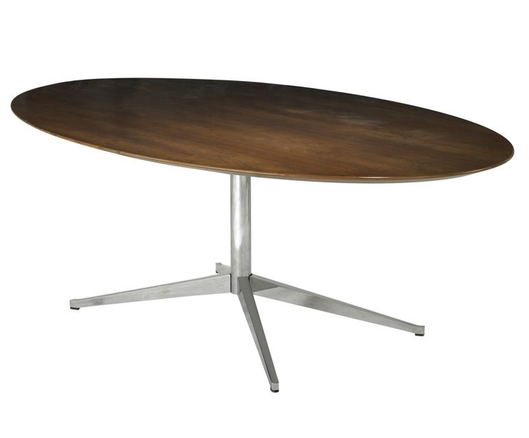 Knoll Rosewood and Chromed Steel Elliptical Dining Table
