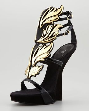 4448af7b06740 Giuseppe Zanotti Patent Leather and Suede Sandals with Leaf Detail ...