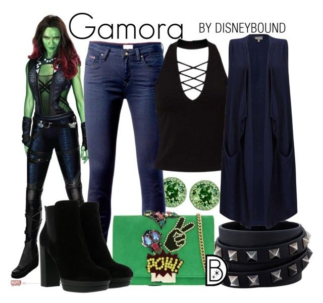 """Gamora"" by leslieakay ❤ liked on Polyvore featuring Nina, Valentino, Tommy Hilfiger, Miss Selfridge, Phase Eight, GEDEBE, Hogan, disney and disneybound"