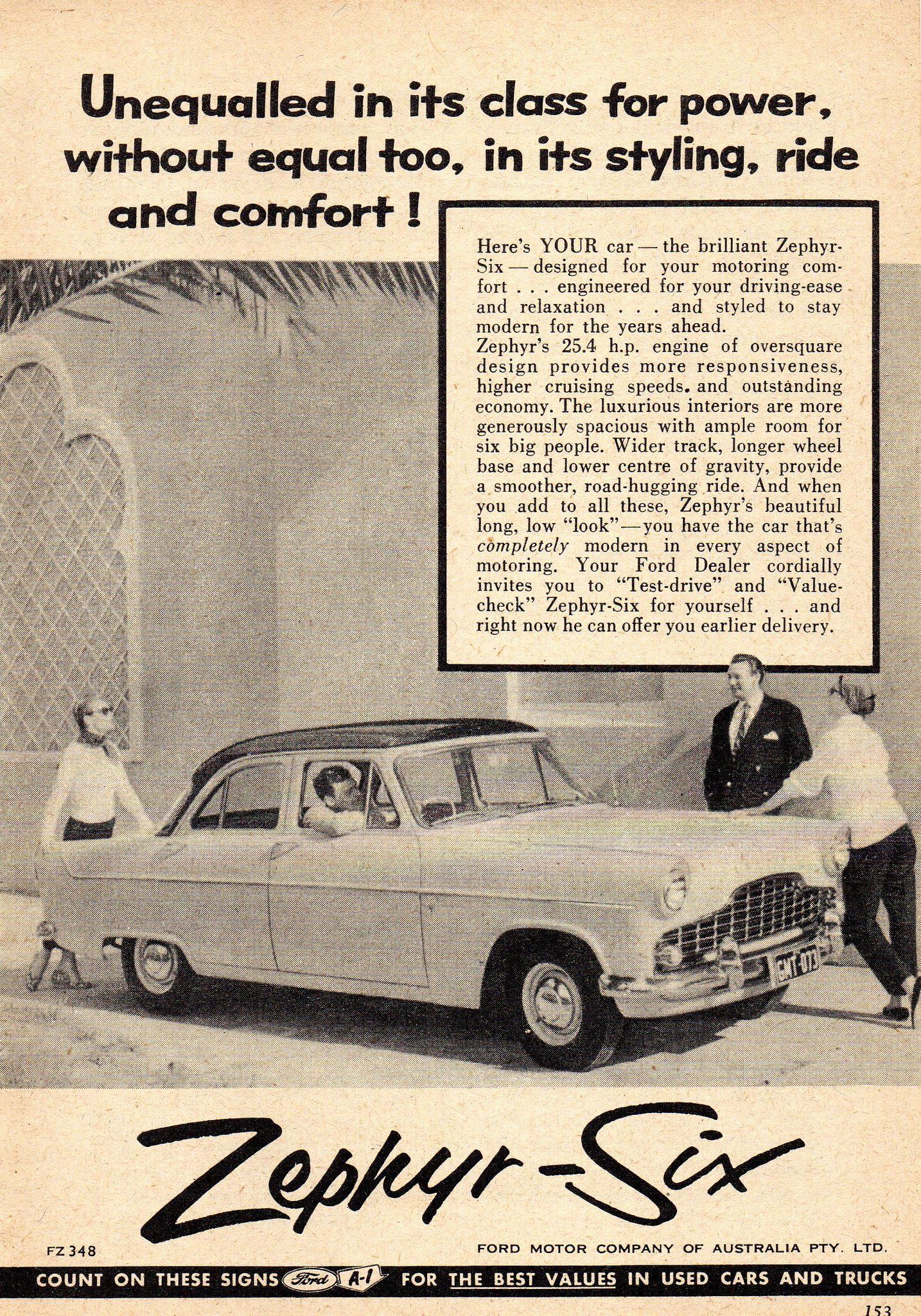 1957 Ford Zephyr Six Sedan Aussie Original Magazine Advertsement
