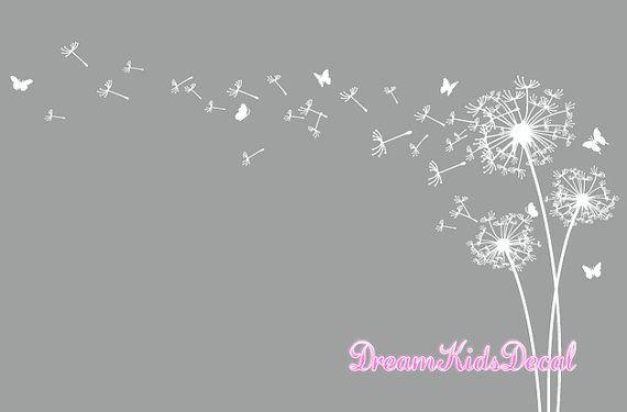 Dandelion wall decal, Dandelion wall art, Dandelion wall sticker ...