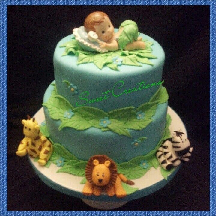 Jungle Animals Baby Shower Fondant Cake. Lion, Zebra