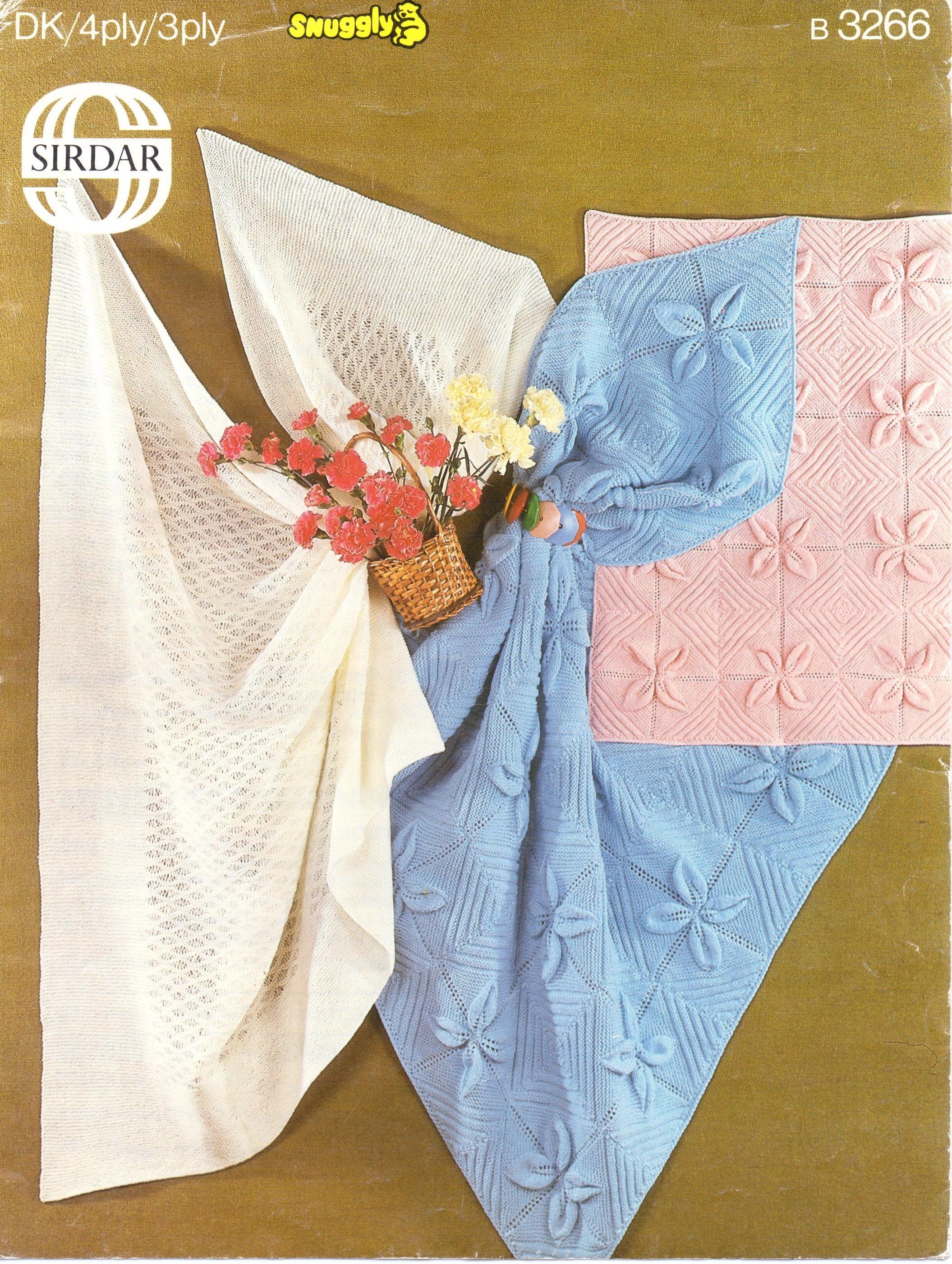 Baby Shawl Knitting Pattern Baby Blanket Pram Cover DK 4 ply 3 ply ...