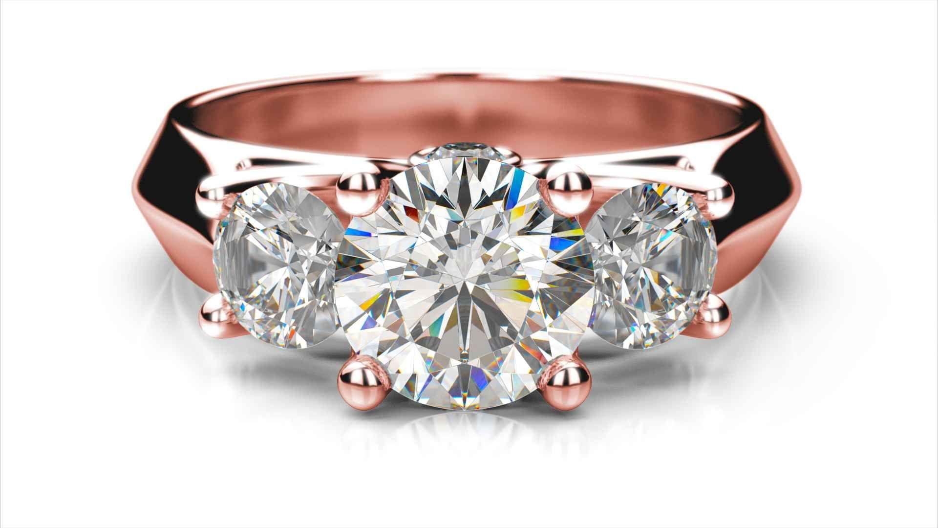 Zlatý zásnubný prsteň VERA ružové zlato 14 karátové diamant okrúhly tri  diamanty f7854f83ac0