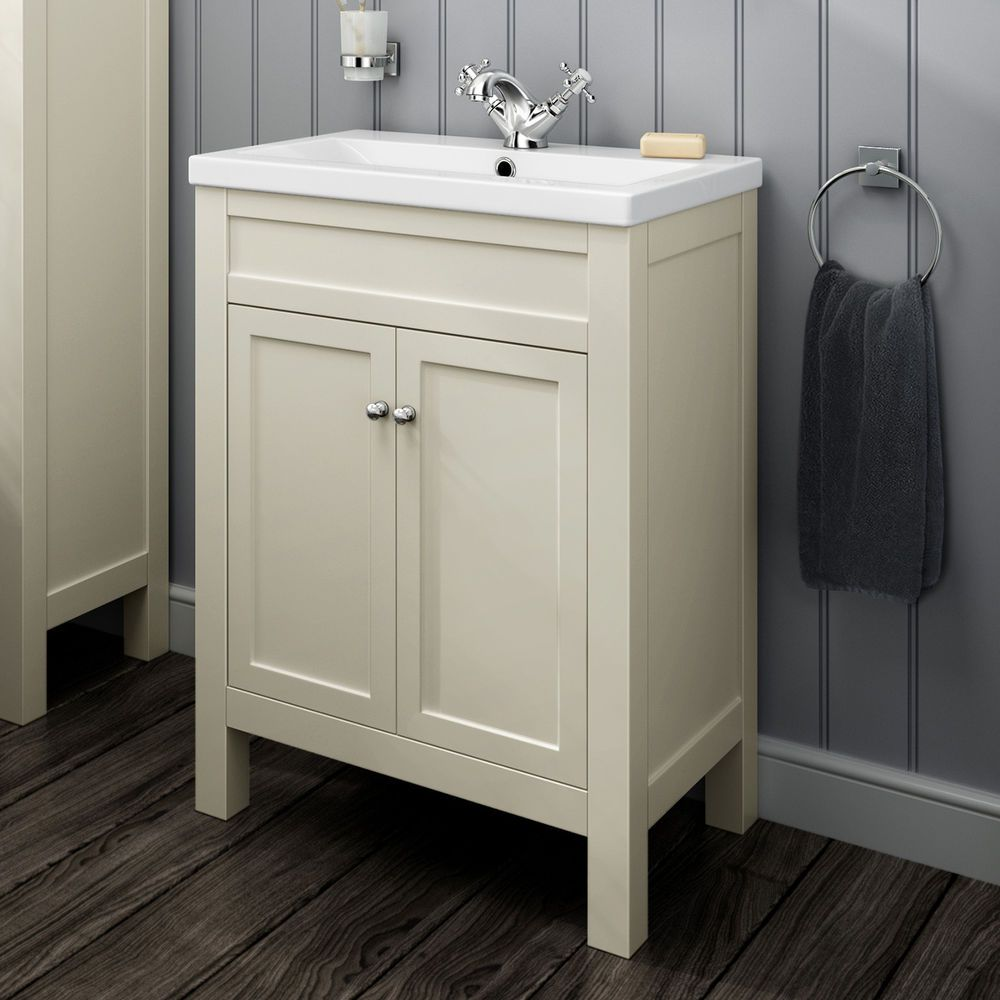 600mm traditional cream bathroom furniture storage vanity unit basin sink mv1000
