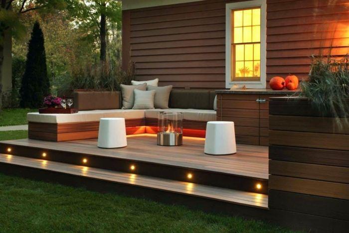 ideas para iluminar la terraza, muebles modernos con diseño sencillo