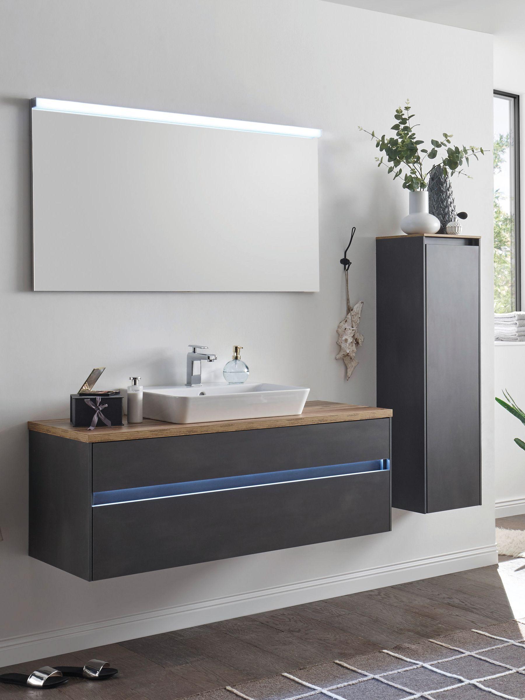 Badezimmerset Kenborg Udine Weisser Waschtisch Waschunterschrank Waschtisch