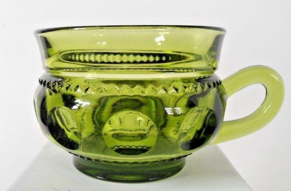 AVOCADO GREEN KINGS CROWN THUMBPRINT COFFEE / TEA CUP